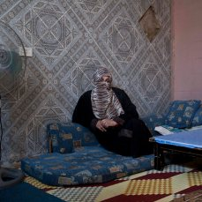 Lebanon - Faqaa - Selma, 35 years old, is from Zahra. She arrived two weeks ago, after her house was razed by tanks and mortar shelling of the Syrian Army. ?We became refugees in our own place, just because we are Sunni?, she says bitterly. Without documents and money, her family is forced to rely on donations and help from the Lebanese families of the village she now lives in.